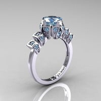 Edwardian 14K White Gold 1.0 CT Aquamarine Ballerina Engagement Ring R241-14KWGAQ