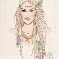 GWEN STEFANI Portrait Poster - Native American - Fashion Illustration - Feather Headdress - Pencil and Digital Print - Red - Pale - Beige
