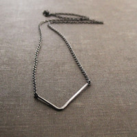 Sterling Silver Pointed Necklace - Chain and Antique Finish