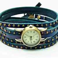 Retro Style Simple Blue leather wrist watch,Handmade Unisex  Personalized  Watch leather wrist watch Bracelet 2270S