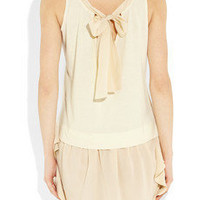 Miu Miu|Cotton-jersey and silk crepe de chine dress