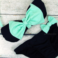 Grenada Beach Big Mint Bow Sailor Bandeau Bikini