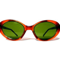 Amber Cat Eye Sunglasses, Deadstock Cat Eye Glasses, Tortoise Shell Cat Eyes with Green Lenses, Super Sweet Vintage Cateyes