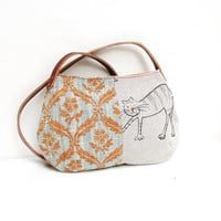 Story of a Cat and a Mouse - Purse with Linen and Leather