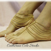 Grecian GODDESS GOLD barefoot sandals for summer fun 1 pr. slave sandals foot jewelry beachwear Catherine Cole BF16