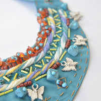 turquoise handmade  collar necklace, trends collar,peter pan necklace,rustic necklace,bib necklace