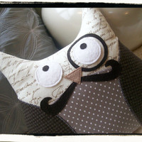 Owl with Mustache Plushie Pillow Brown by MyLittleFeather