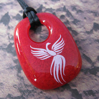 Phoenix Necklace, White Phoenix, Red Pendant, Bird Jewelry - Phoenix - 4222 -3