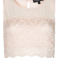 Petite Lace Panel Crop Top - Petite - Clothing - Topshop USA