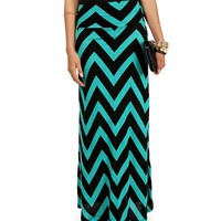 Jade/Black Chevron Print Maxi Skirt