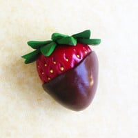 polymer clay chocolate covered strawberry magnet
