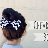 Black Chevron Hair Bow