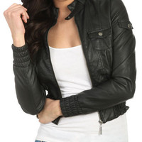 Smocked Leatherette Jacket - Teen Clothing by Wet Seal