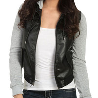 Fleece Hood Bomber Jacket - Teen Clothing by Wet Seal