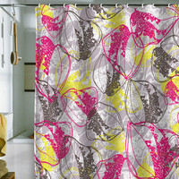 Rachael Taylor Retro Organic Leaves Shower Curtain