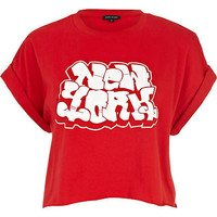 Red New York graffiti print cropped t-shirt - tops - sale - women