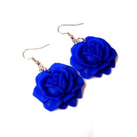 Turkish blue roses  polymer clay dangle hook by sevdacholakova