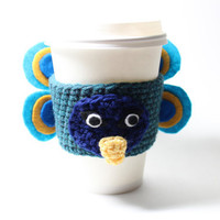 Peacock Coffee Cozy. Crocheted cup sleeve. Animal can cozy.