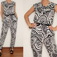 Harem Jumpsuit Black and White Op art print for Women