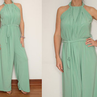 Mint Green Jumpsuit 70s jumpsuit Wide Leg Pants for Women