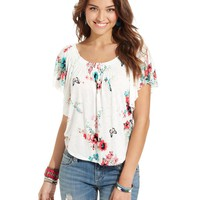 American Rag Juniors Top, Short Sleeve Printed Peasant - Juniors Tops - Macy's