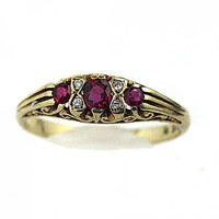 Antique 14 Kt Yellow Gold Burma Ruby and Diamond Wedding Band | artdecodiamonds - Jewelry on ArtFire