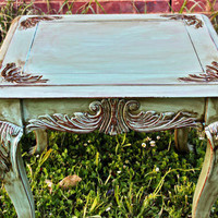 Beautiful Aquamarine Nightstand/ Side Table/ End Table/ by AquaXpressions... Revitalized Furniture by Aqua Xpressions