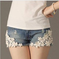 Flower Lace Denim Shorts