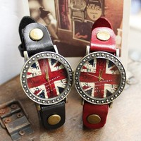 Vintage Union Jack Print Women's Leather Wrist Watch - Watches - Accessories - Women Free Shipping