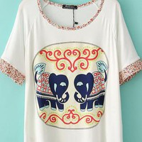Elephant Loose T-shirts With Little Flower Sleeve&Neck