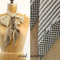 Vintage 60's Bill Blass Scarf / Silk Ivory Scarf / Dots and Dashes Scarf