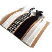 Elastic Hair Ties Black and White Houndstooth Yoga Hair Bands