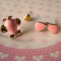 Airplane Heart Sunglass Earrings Studs by Bitsofbling on Etsy