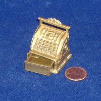 Dollhouse Brass Cash Register with Drawer Miniature by doranzi