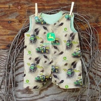 Baby Boy Romper, John Deere, Embroidery, size 6, 9, or 12 month, brown, green, snap crotch