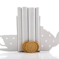 Bookends - Cup of Tea - laser cut for precision these metal bookends will hold your favorite books
