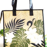 Reusable Insulated Large Shopping  Beach Totes - Hawaiian Design  -  Tan/White