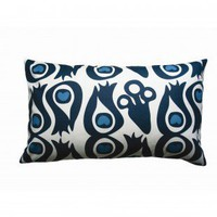 Balanced Design Hand Printed Canvas Peacock Pillow - CPC - Pillows, Blankets &amp; Slipcovers - Decor