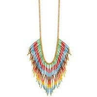Bright Bead Fringe Necklace (Multicolor)