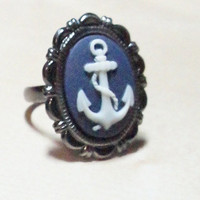 In stock ajustable ring anchor sailor theme blue by LCBeads2wear