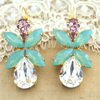 Mint Rhinestone earrings Mint white and Purple statement chandelier - 14k Gold plated with real Swarovski Crystals