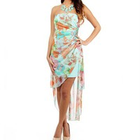 Turquoise Strapless Floral Dress