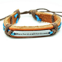 Real Leather Cotton Ropes Woven Men Leather Jewelry Bangle Cuff Bracelet Women Leather Bracelet  RZ0303