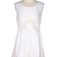 In The Moment Sleeveless Embroidered Dress - White -  $55.00 | Daily Chic Dresses | International Shipping