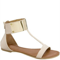 Athena Gold Cuff Sandals - Ivory -  $35.00 | Daily Chic Shoes | International Shipping