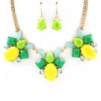 Green and Yellow Cluster Necklace Set