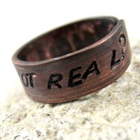 Real Or Not Real Hunger Games Antiqued Copper Adjustable Ring | foxwise - Jewelry on ArtFire