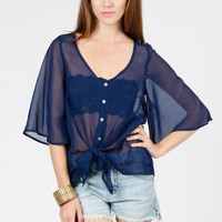 Chiffon Tie Blouse - ShopSosie.com