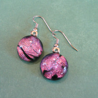 Pink Earrings, Dichroic Earings, Hypoallergenic Jewelry, Fashion Jewelry - Suzie - 1823 -3