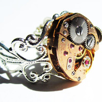 Steam Punk ring vintage 17 jewel Watch Movement by InsomniaStudios